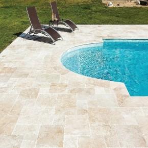 carrelage Bagnac, en travertin 60 x 40 x 1,2 cm pour sol terrasse extérieur