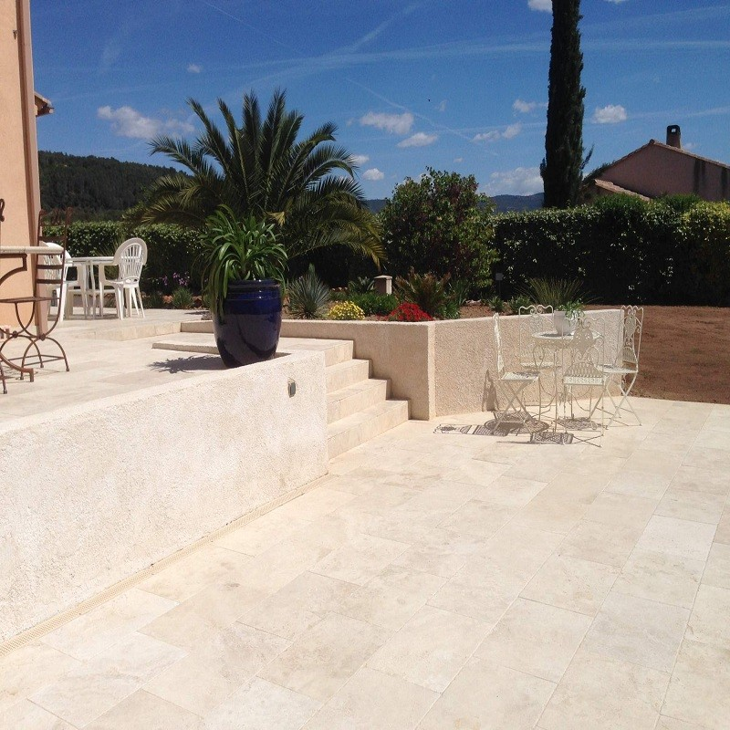 Carrelage diamond en travertin beige 60 x 40 x 1 2 cm sol for Dalles terrasse exterieur