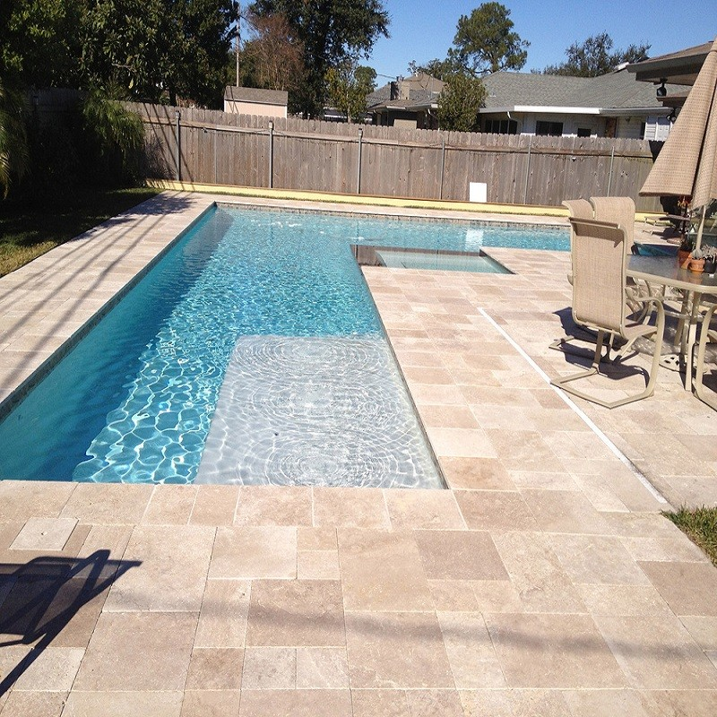 Carrelage eco antique en travertin opus romain adoucie for Carrelage pour piscine exterieur