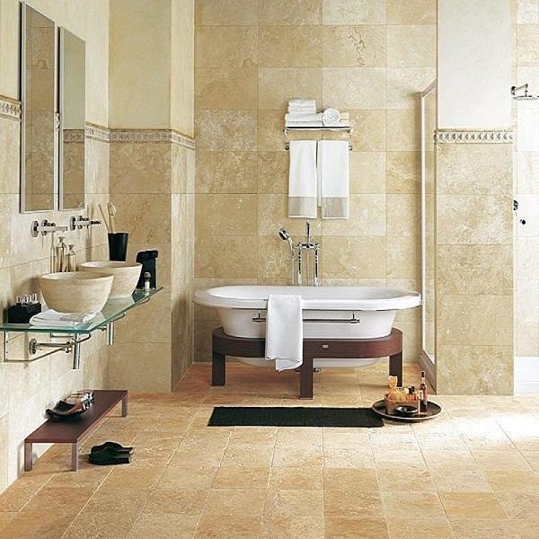 Carrelage en marbre de travertin beige pour sol intérieur