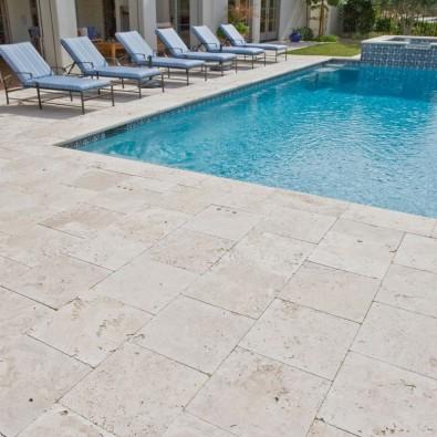 carrelage Belfort, en travertin nuancé 60 x 40 x 1,2 cm pour sol terrasse extérieur