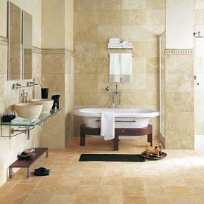 Carrelage salle de bain en travertin