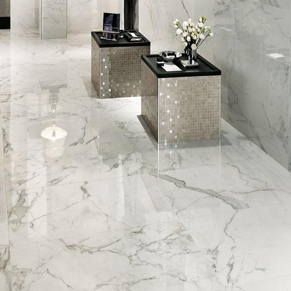 carrelage en marbre poli brillant blanc